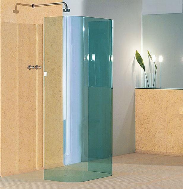 Bigelli Marmi - Yo & Me bathroom by HANS THYGE RAUNKJAER.  Floor in marble Silvia Oro honed with sandblasted bands. Shower box in stratified green singapore crystal.