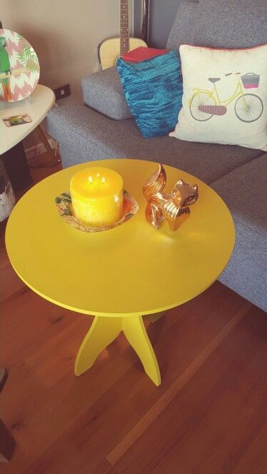 Paint this little 4.50 table bright yellow and it's came up great