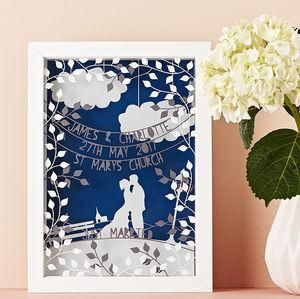 Personalised Wedding Triple Layered Papercut -  Wedding gifts that will leave the new couple head over heels in love all over again. Thoughtful and personalised presents for the newlyweds.