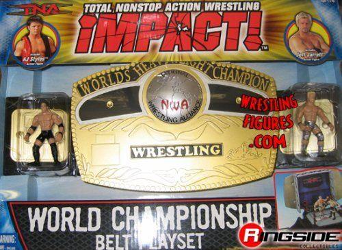 NWA TNA WORLD HEAVYWEIGHT CHAMPIONSHIP KID SIZE TOY WRESTLING BELT & PLAYSET W/MINI FIGURES by TOYBIZ. $29.99. Open belt to reveal hidden wrestling ring!  Includes AJ Styles and Jeff Jarrett figures.