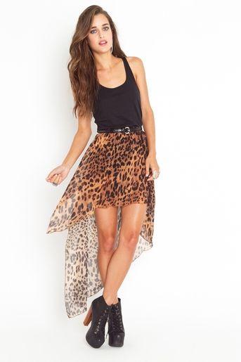 Leopard high low skirt <3