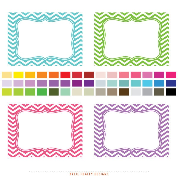 Chevron Labels and Journal Squares - 45 Printable Labels  -  Clip Art Commercial and Personal Use - GEN-780. $3.00, via Etsy.