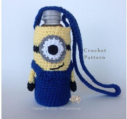 Minion Water Bottle Holder Cup Holder (crochet pattern, cute crochet ideas, fun diy)