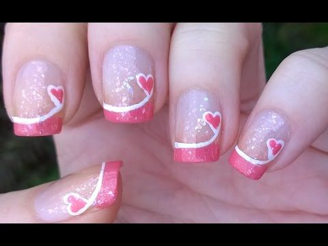 French Manicure Ideas #4: Valentine's Day PINK TIP NAILS - Easy HEART Nail Art! - YouTube