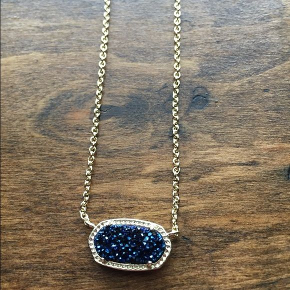 Blue Drusy Elisa Super chunky and sparkly. Gold hardware is in perfect condition. Comes with dust bag. Selling  on Ⓜ️ for $145 shipped. Kendra Scott Jewelry Necklaces