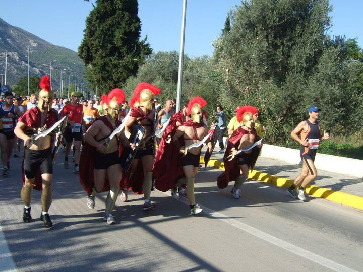 The Classical Marathon in Athens, the first week of November. The distance goes from the village of Marathon till centre Athens (Kalimarmaro Stadium)