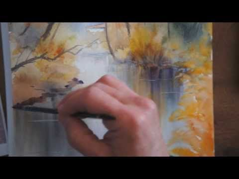 (watercolor tutorial)In French, but good demo of loose watercolor river with reclections and small rooftoop