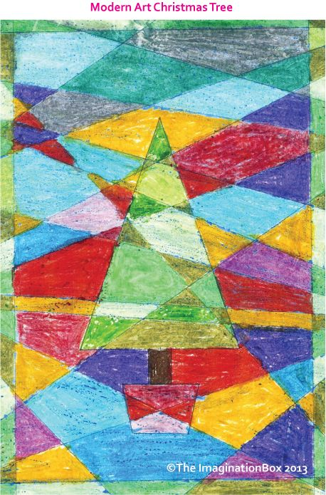 Modern Art Christmas tree, my most pinned pin, available as a free download colouring in sheet on my website