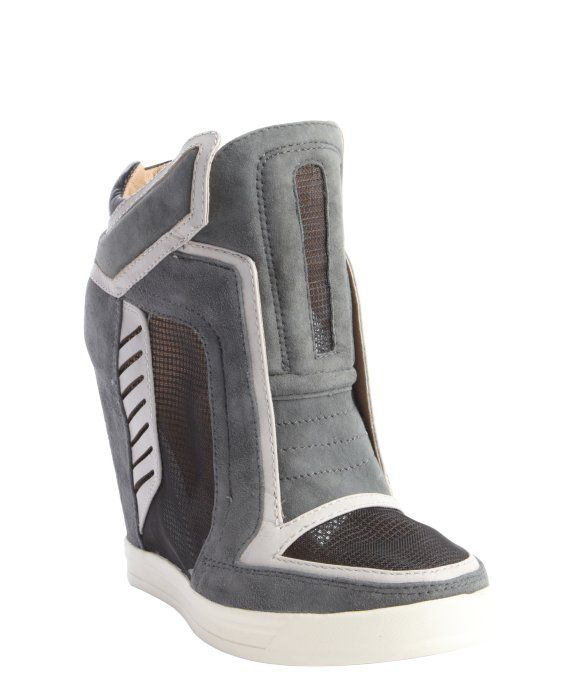 L.A.M.B. grey textured leather \u0027Freeda\u0027 mesh accent wedge sneakers