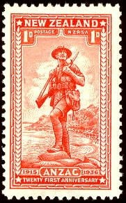 Stamp to commemorate the 21st anniversary of Anzac Day landing - it is actually Karaka Bay in Wellington, not Gallipoli.