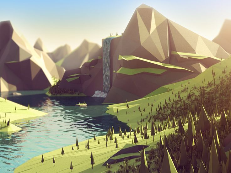 Fjord Low Poly Landscape