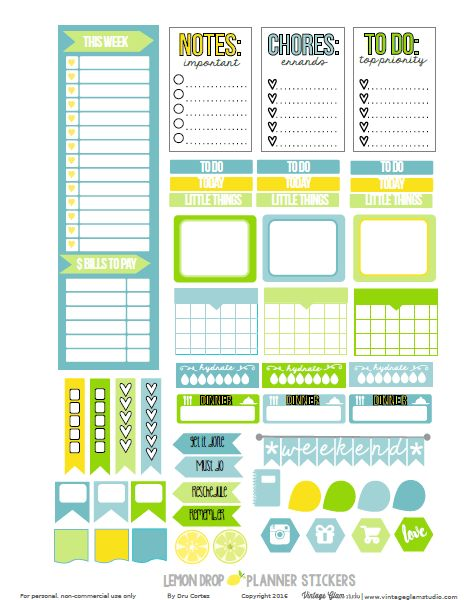 Free Printable Lemon Drop Planner Stickers {page 1} from Vintage Glam Studio