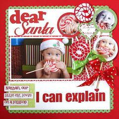 Christmas Scrapbook Page Layout -- love the lollipops! would look great on a gingerbread house layout