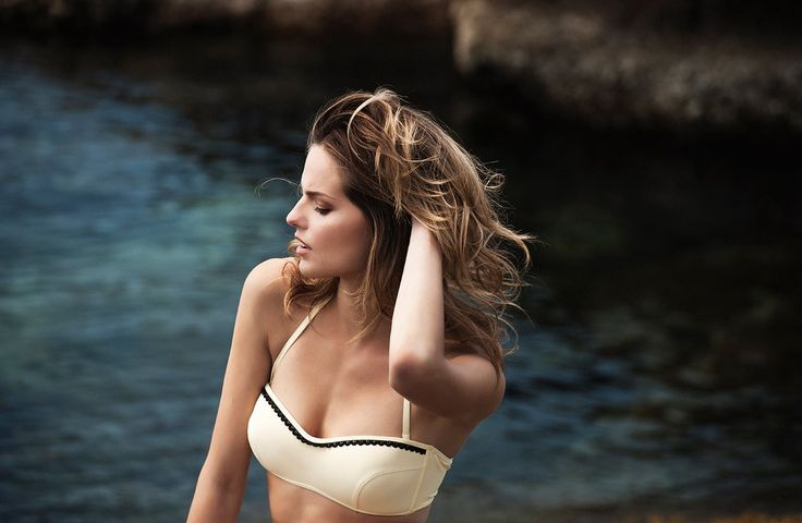 "Feminine and comfy, the ""Alexia"" ‪#‎bikini‬ by Stefania Frangista with a corset top embellished with black lace details, is all you need to make a statement at the beach!"