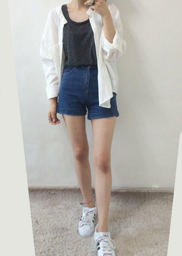 Korea street fashion. Navy shirt, blue jeans, white button up shirt