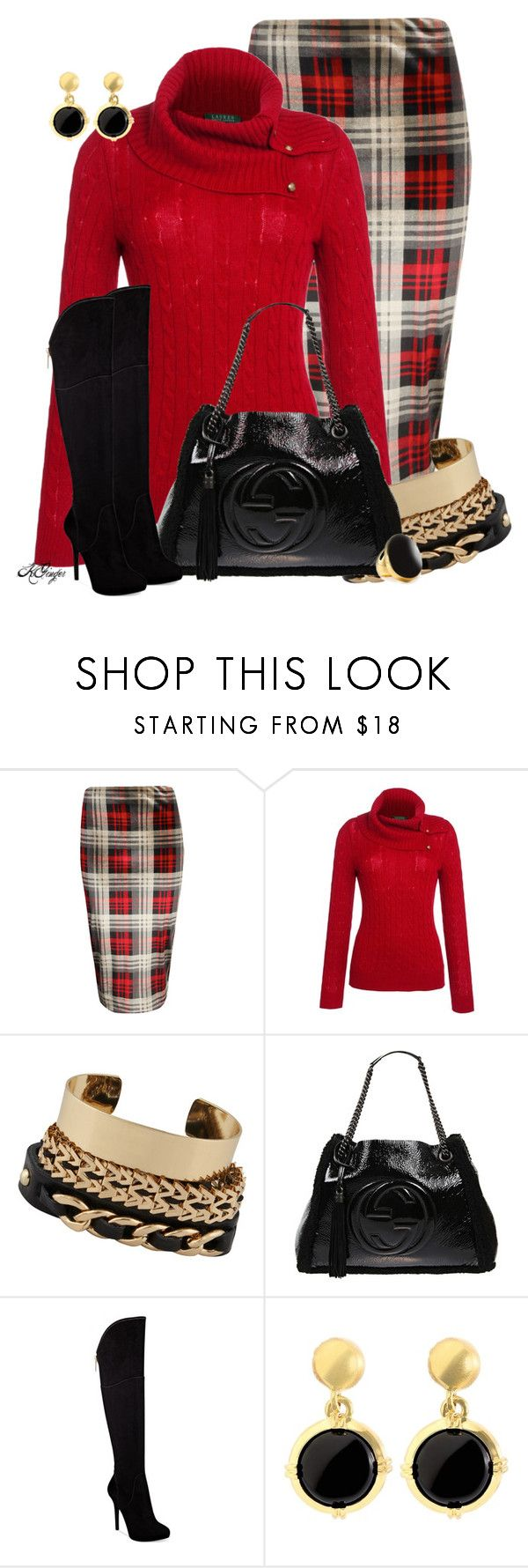 """Classy Cable Knit Sweater Contest"" by kginger ❤ liked on Polyvore featuring Boohoo, Lauren Ralph Lauren, ALDO, Gucci, GUESS, Brooks Brothers and Kenneth Jay Lane"
