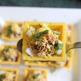 Canape sev puri -  a simple finger food with canapes with an Indian touch