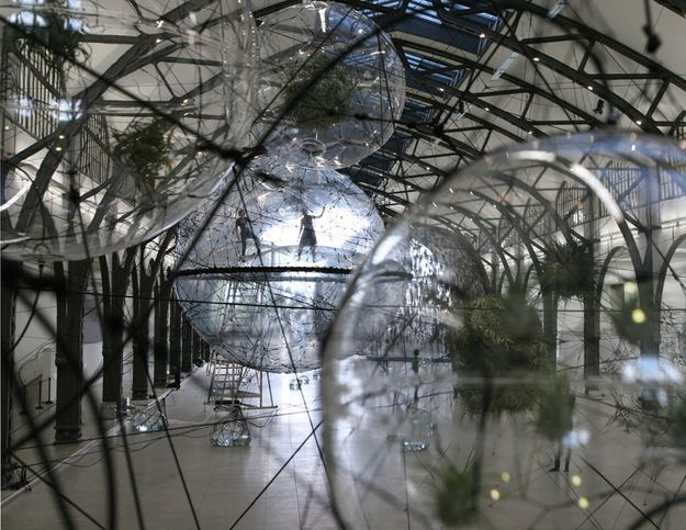 tomás saraceno's 'cloud cities' installation at hamburger bahnhof in berlin  comprises a collection of geometric, inflated shapes that challenge the  notions ...