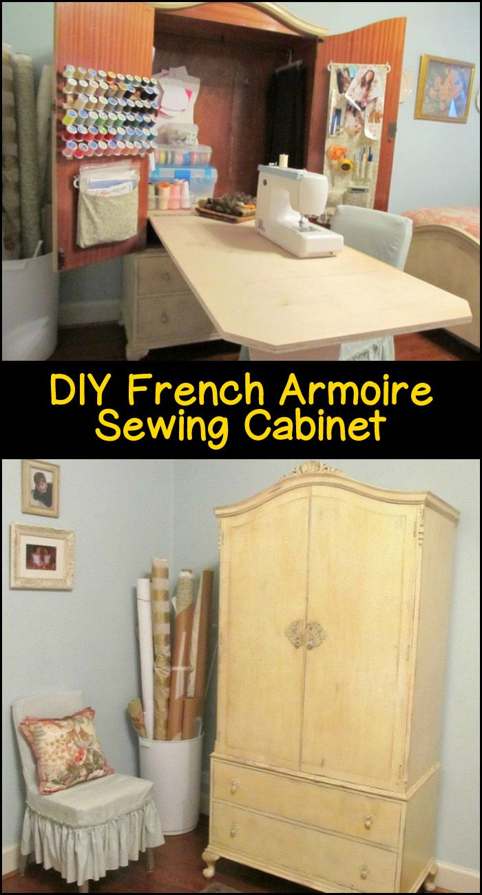 You can have your very own sewing table, which you can also easily put away, by transforming an old French armoire into a sewing cabinet!