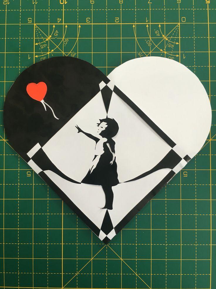 """Banksy - Girl and balloon"" Julehjerte - Jens Kaarsholm"