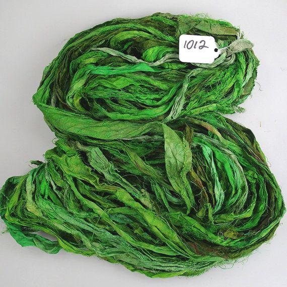 Recycled Silk Sari Ribbon Pretty fresh Green by designtalentedone, $14.00