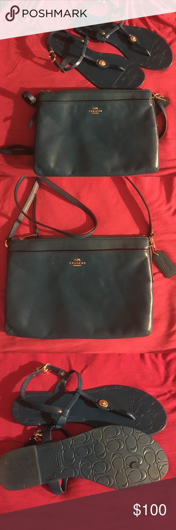 Beautiful Coach cross-body and Sandals✨✨ Very stylish Authentic Coach cross body and Sandals with Gold essentials. Size 10 women's Jelly sandal and the color can be Teal or Turquoise. Pair with maxi dress or ripped jeans and a crop top and your sure to be the most sexist person anywhere. Coach Bags Crossbody Bags