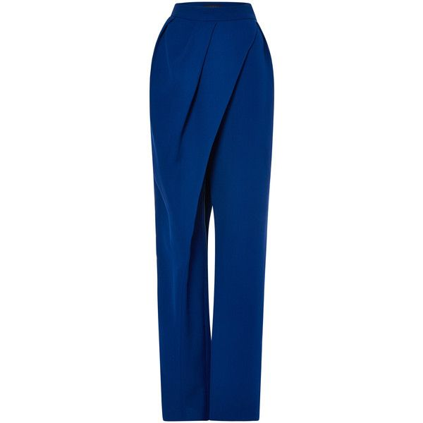 Vika Gazinskaya High Waist Wrap Pant ($669) ❤ liked on Polyvore featuring pants, high waisted pleated pants, pleated pants, pleated trousers, highwaisted pants and silk wrap pants