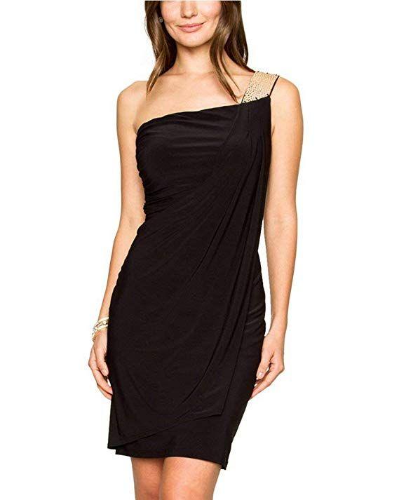 One Shoulder Cocktail Dress,XXS,Black