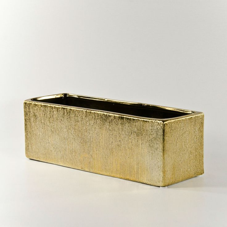 Low Etched Rectangle Vases And Containers In Silver Or