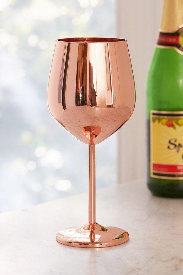 Copper Metallic Wine Glass