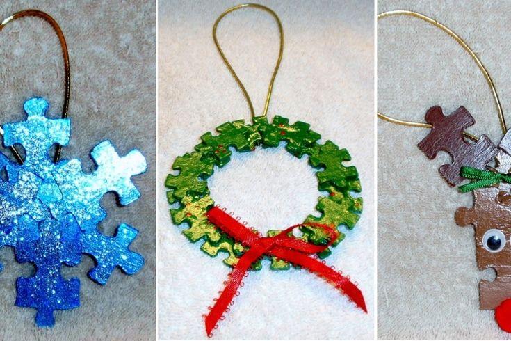 15 bricolages de Noël pour enfants faire avec des pièces de casse-têtes incomplets!!