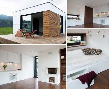 La maison livrée sur site se pare d'une enveloppe extérieure montée en une journée, selon les concepteurs. L'aménagement intérieur est préparé en atelier dans un module complet remonté sur place.