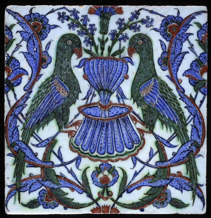 Maker:    Unknown; potter    Category:    fritware (stonepaste)    Name(s):    tile  Islamic pottery; category  Iznik; category    Date:    circa 1575 — circa 1599    School/Style:    Ottoman    Period:    late 16th Century