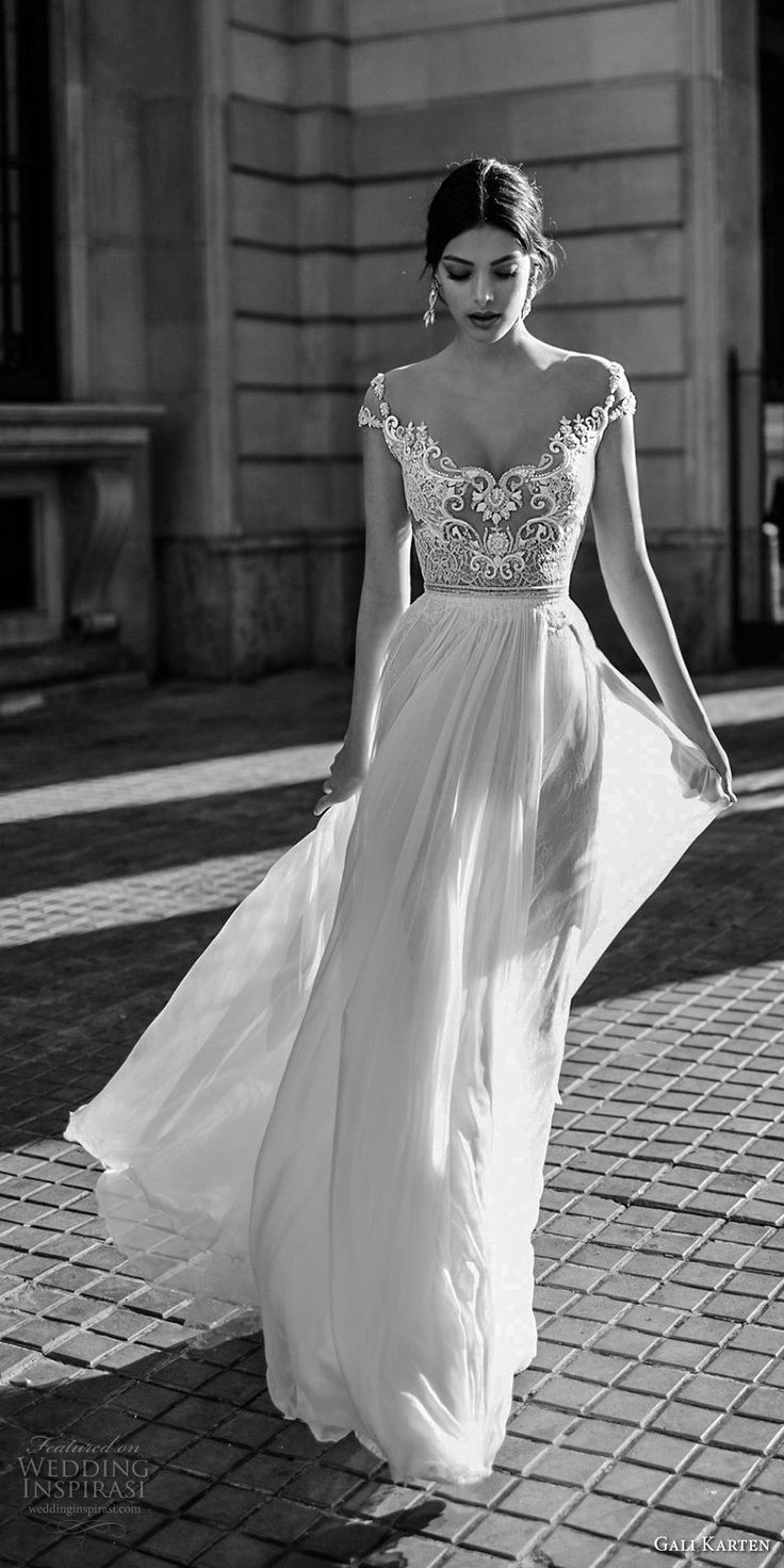 gali karten 2017 bridal cap sleeves scoop neck heavily embellished bodice romantic elegant soft wedding dress sheer back sweep train (7) mv -- Gali Karten 2017 Wedding Dresses