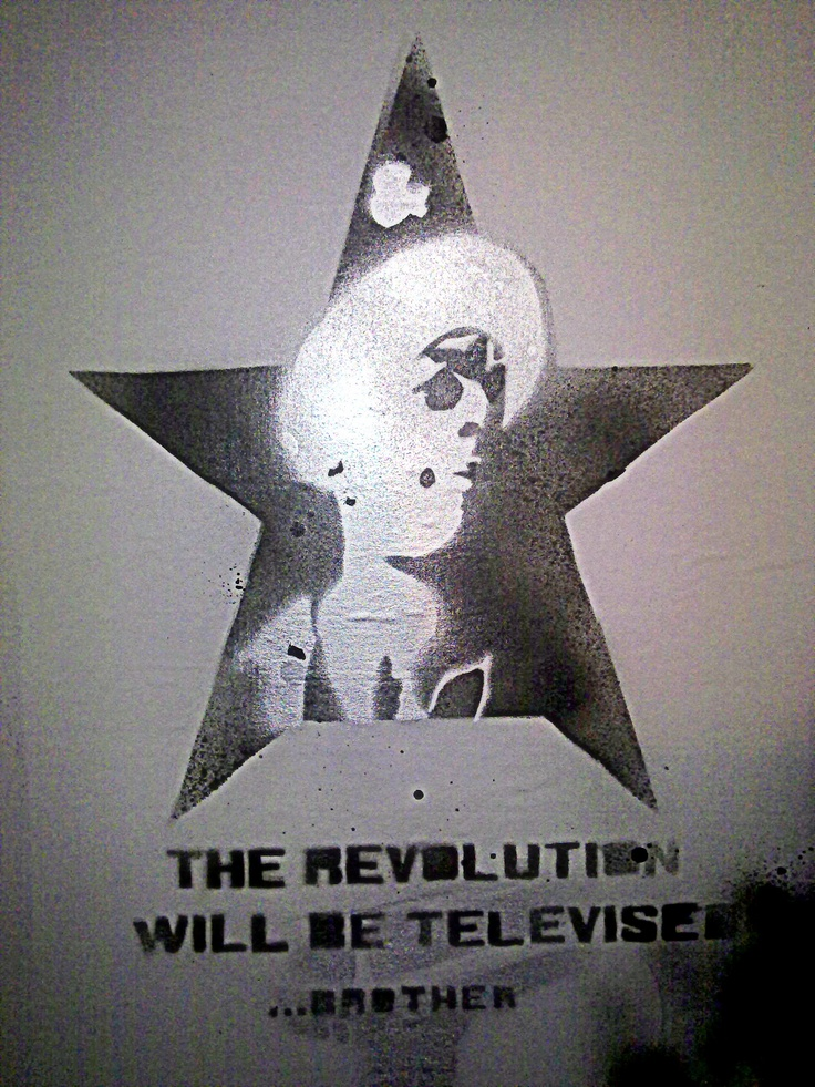 Revolution was televised demo stencil. (black+silver)