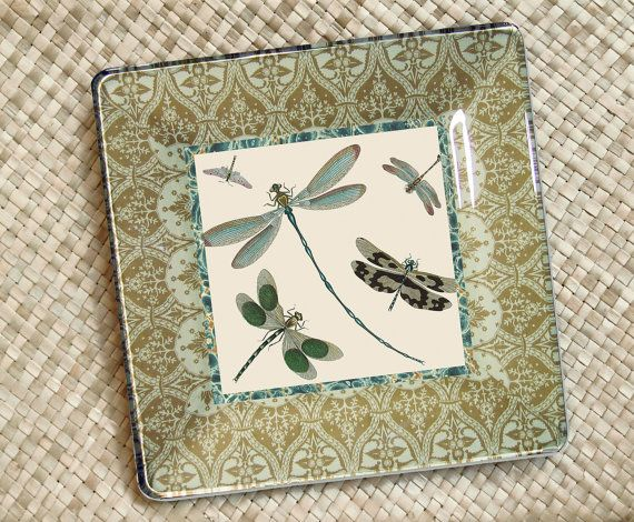 Dragonfly Art  / Garden Decor / Decoupage by GlassPaperScizzors, $89.00