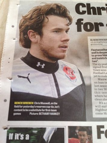 Bet Hanky: Fleetwood Town reserve match against Tranmere Rovers, Squires Gate FC, Wednesday 22nd January.  Chris Maxwell Fleetwoods number 2 Goal Keeper to accompany Rob Stocks' article on the back page of The Fleetwood Gazette published Thursday 23rd January.