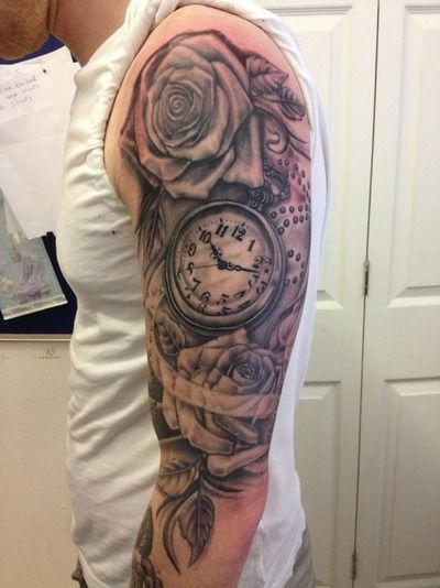 Pocket watch tattoo times set to kids birth