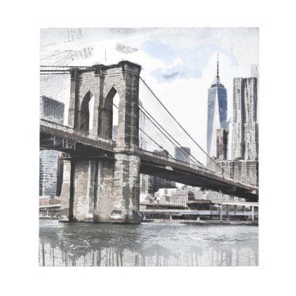 Brooklyn Bridge Drawing Notepad - drawing sketch design graphic draw personalize