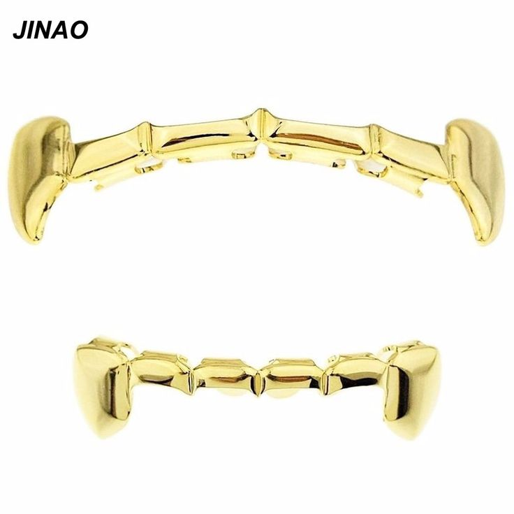 JINAO Fang Grillz Set Gold Plated Half Teeth Dracula Vampire  Slim  Grills Gold Top&Bottom Grillz set Hiphop Gold grillz