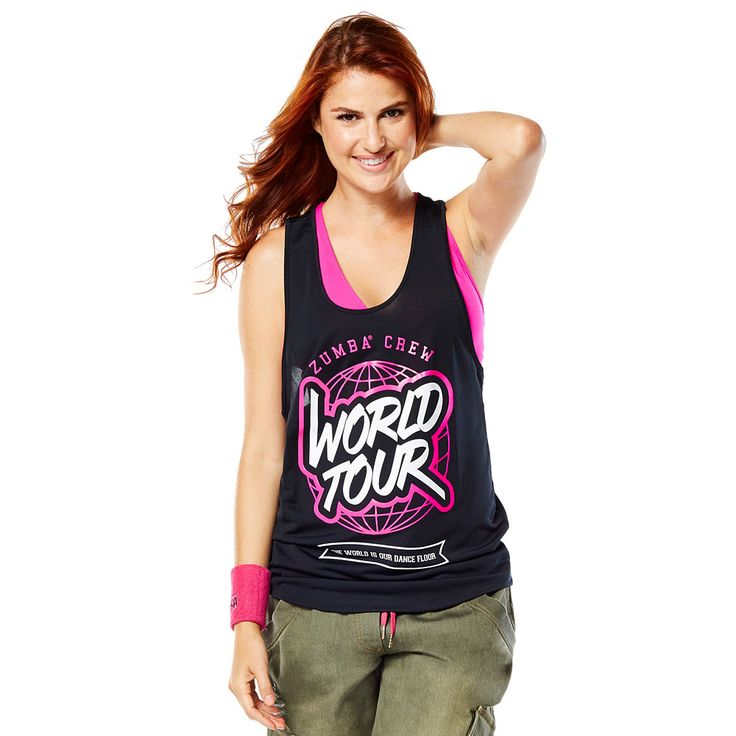 WORLD TOUR LOOSE TANK - BACK TO BLACK  ------------------------- Rep your favourite rhythms in the World Tour Loose Tank! This fan favourite features ultra soft and lightweight fabric that will keep you dancing on and on and on. Zumba Tank.