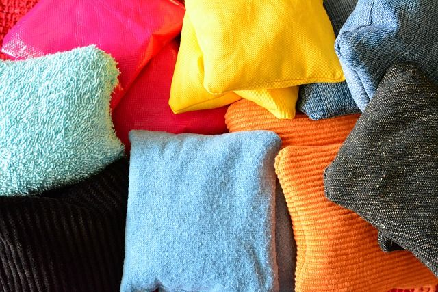 DIY Sensory Bean Bags - for matching by color and texture