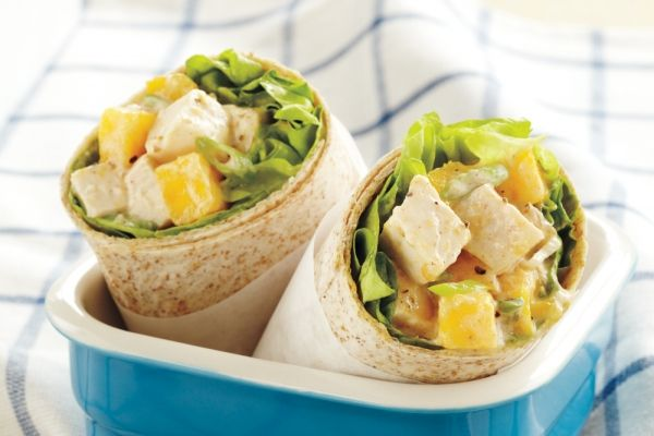 Mango Chicken Wraps - If you don't have time to cook chicken, grocery store rotisserie chicken is a great option. Make the filling the night before and assemble the sandwich wraps in the morning.