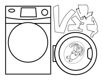 There are two activities that go with the Knuffle Bunny book by Mo Willems. The first activity is a washer machine, clothes and Knuffle Bunny that you color, cut out and glue. There is a door that you cut out the middle and glue the tab so you can open and close it.