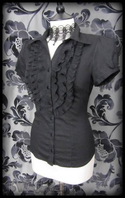 Gothic Victorian Black Chiffon Ruffle Front Governess Top 10 Steampunk Romantic | THE WILTED ROSE GARDEN on eBay // Worldwide Shipping Available