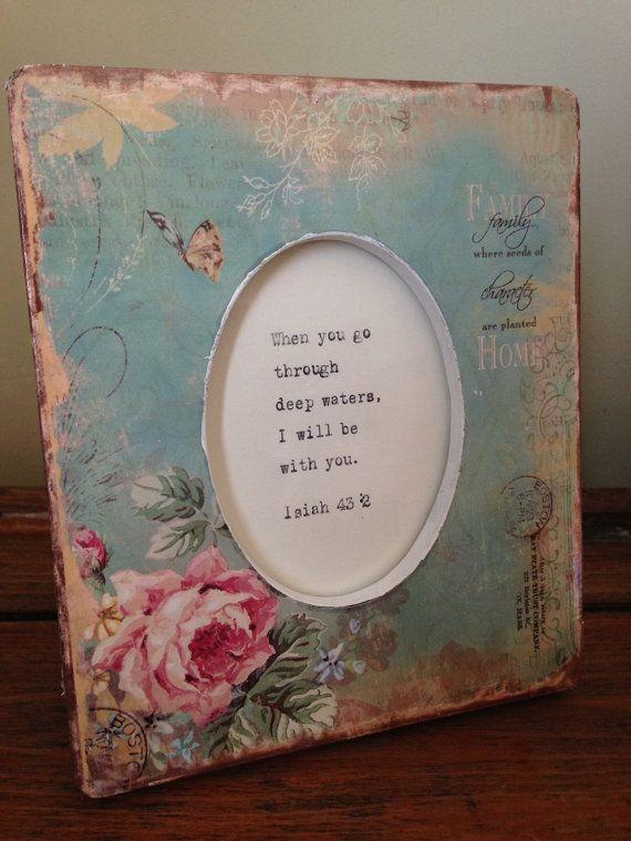 Great valentines gift blue floral frame vintage by BookoftheDad
