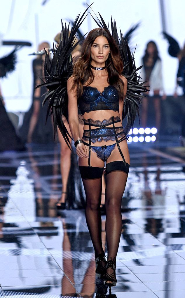 Lily Aldridge from 2014 Victoria's Secret Fashion Show  Aldridge looks like a dream in this shimmery midnight blue get-up.