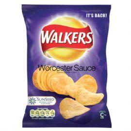 Walkers Worcester Sauce Flavour Crisps: Case Of 48 x 32.5g Bags