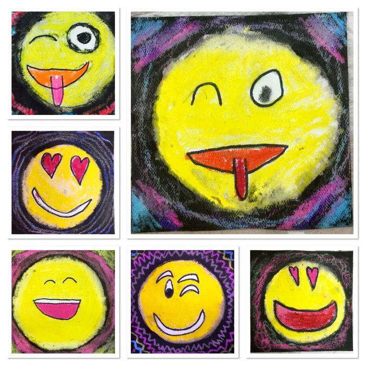 3rd Grade gets EMOJICAL with oil pastels and black watered down tempera!-http://2soulsisters.blogspot.com/2016/05/emoji-batik-groovy-grins.html