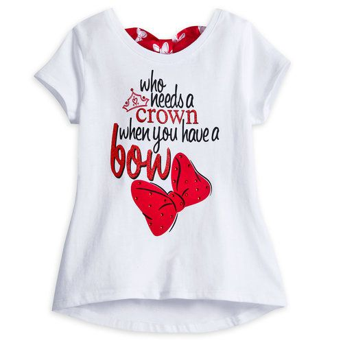 Minnie's soft cotton tee with glittering text art and bow on back will create a whirl of compliments when paired with her tutu, sold separately.